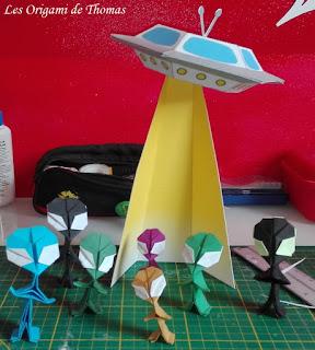 alien et ovni en papercraft et Origami