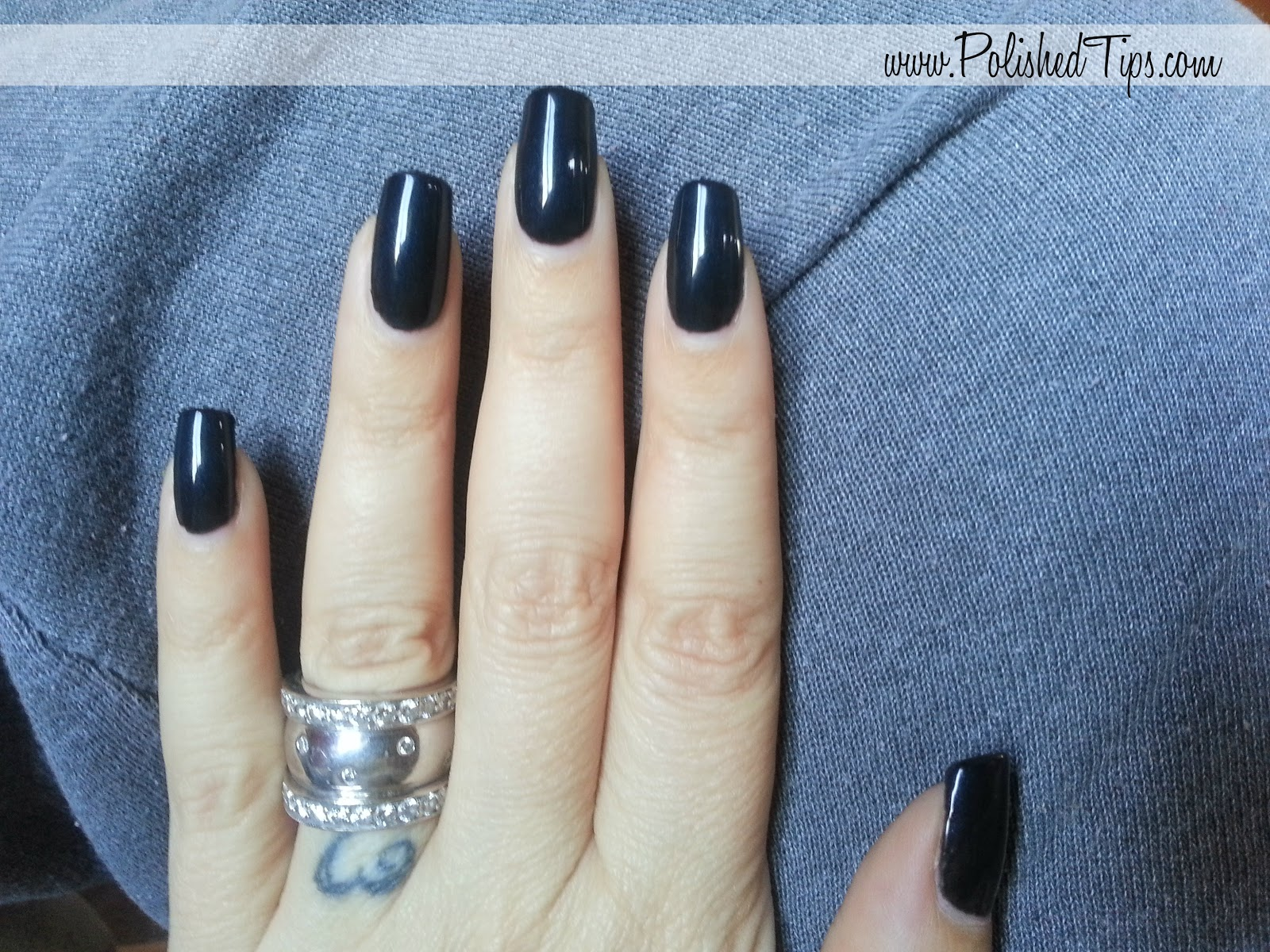 Shellac Negligee Over Black Pool On Natural Nails