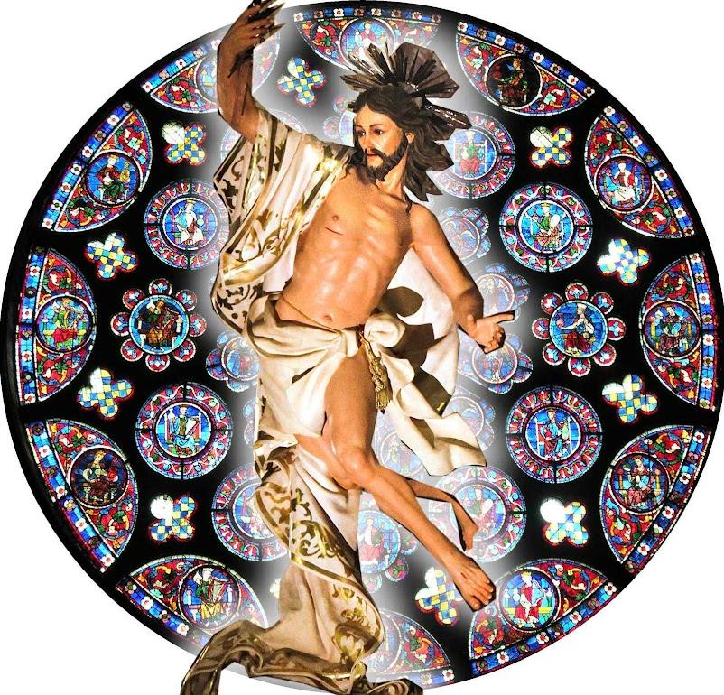 Cristo ressurrecto, basílica dos Santos Pedro e Paulo, Malta. Fundo: rosácea catedral de Chartres, França.