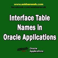 Interface Table Names in Oracle Applications, www.askhareesh.com
