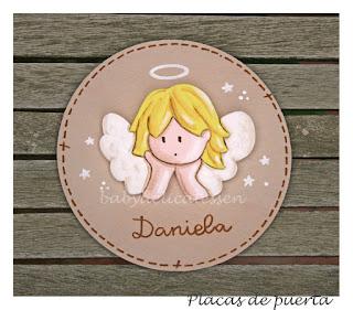 placa de puerta infantil angelito de la guarda babydelicatessen