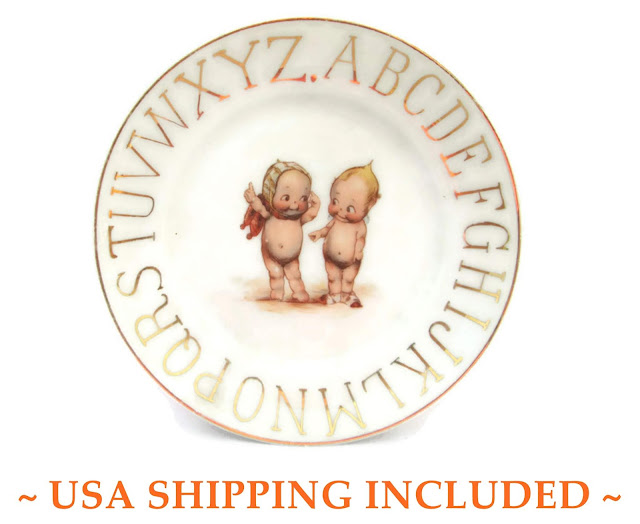 Children's Kewpie ABC Plate Made in Germany Signed Rose O'Neill