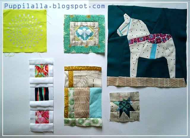 Puppilalla, Dala Horse, Paper Piecing, free quilt block, Improvisation, Improv Block, Polaroids