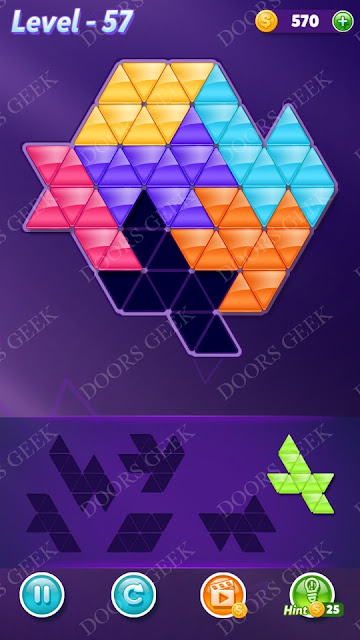 Block! Triangle Puzzle Intermediate Level 57 Solution, Cheats, Walkthrough for Android, iPhone, iPad and iPod