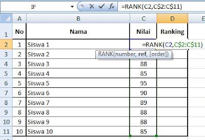Cara Menciptakan Ranking Secara Otomatis (Fungsi Rank) Pada Microsoft Excel