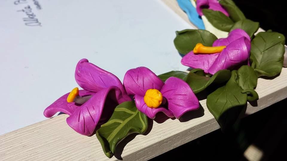 Cornice bouganville fiori in fimo