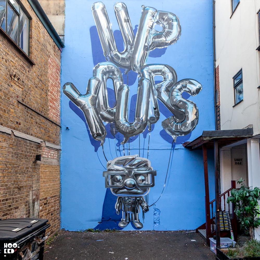 Hyper-realistic 'Up Yours'  helium balloon graffiti Mural by London graffiti artist Fanakapan