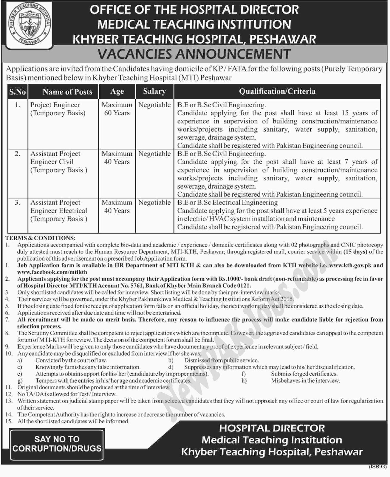 Medical Teaching Institution Kyber Teaching Hospital jobs for Engineers & Other