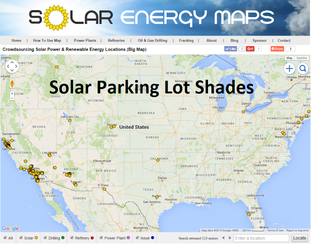 solar parking lot canopies map