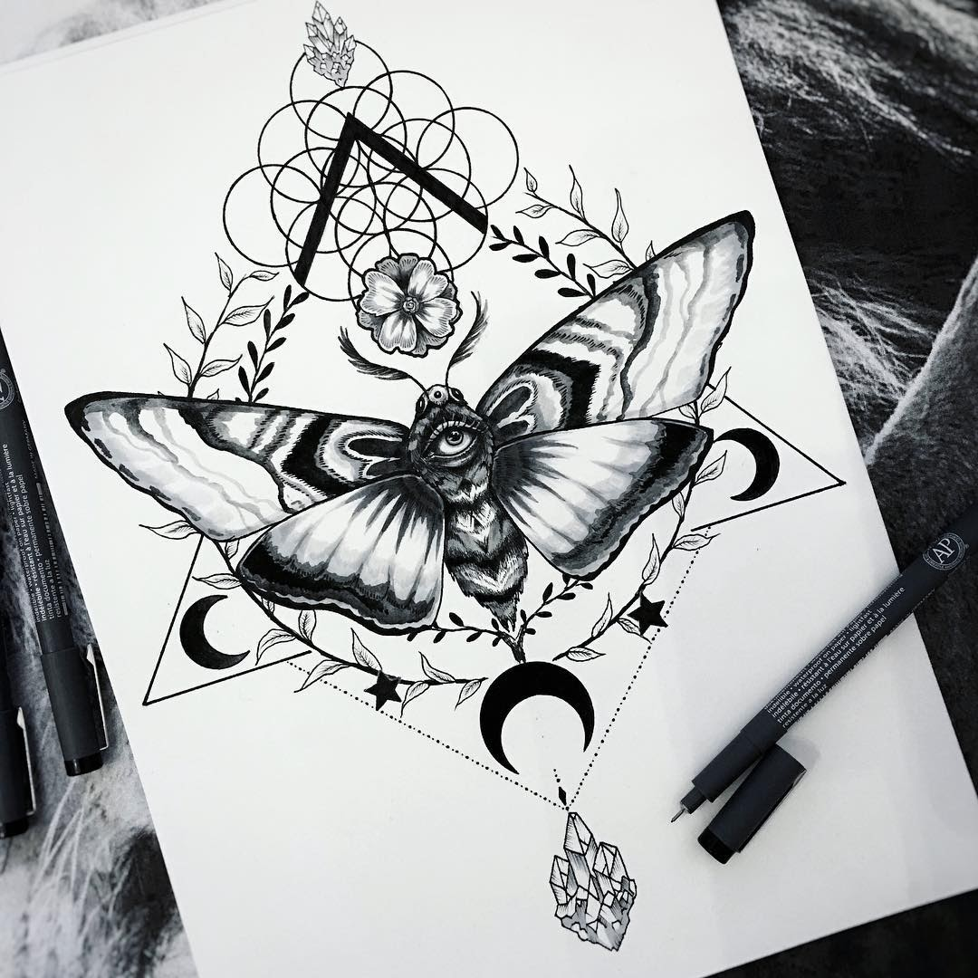 11-Moth-and-crystals-design-Pixie-Cold-Fantasy-Animals-in-Different-Style-Drawings-www-designstack-co