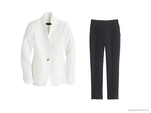 20 ways to wear a white blazer with navy pants in a capsule wardrobe