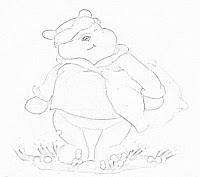 desenho ursinho pooh com travesseiro para pintar