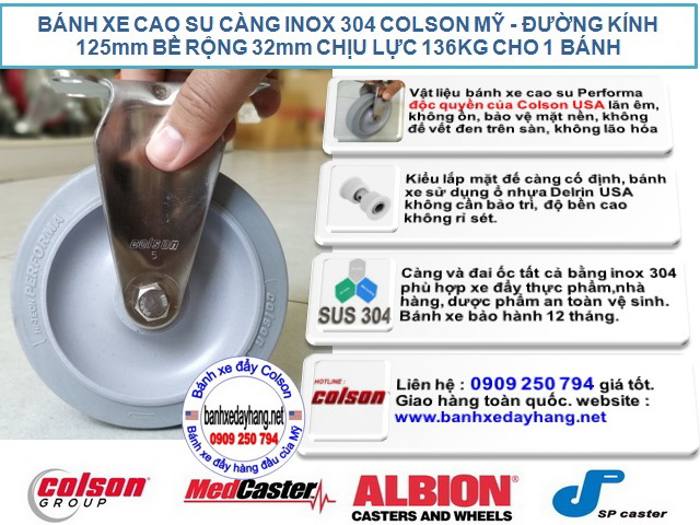 Bánh xe cao su 125x32mm càng inox 304 Colson không xoay | 2-5408-444 banhxedaycolson.com