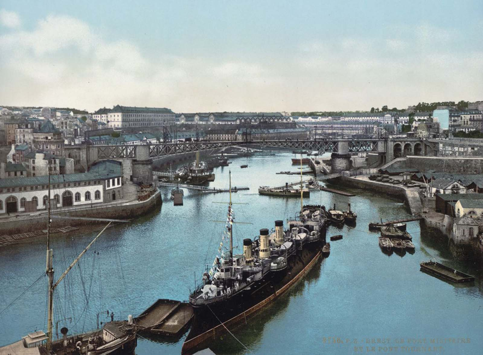 The Port Militaire and swing bridge, Brest.