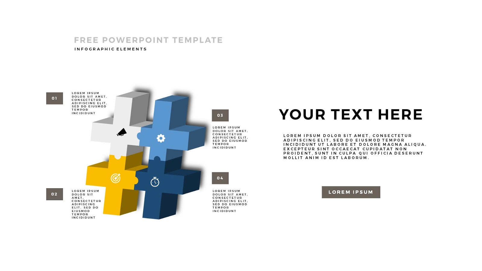 3d puzzle and sign infographic elements for powerpoint