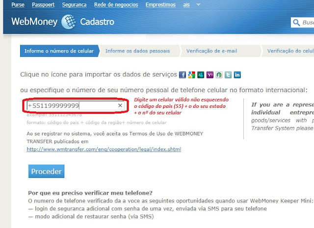 Cadastrar telefone no Webmoney