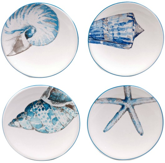 Ceramic Sea Shell Plates in Blue