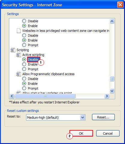 Disable Active Scripting
