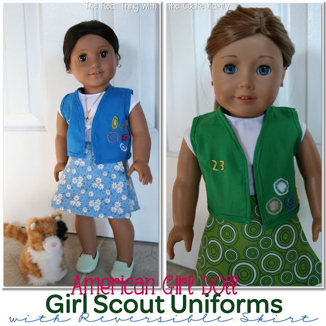 Free American Girl Doll Patterns to make a Girl Scout uniform for your dolls. #sewing #AmericanGirl #GirlScouts