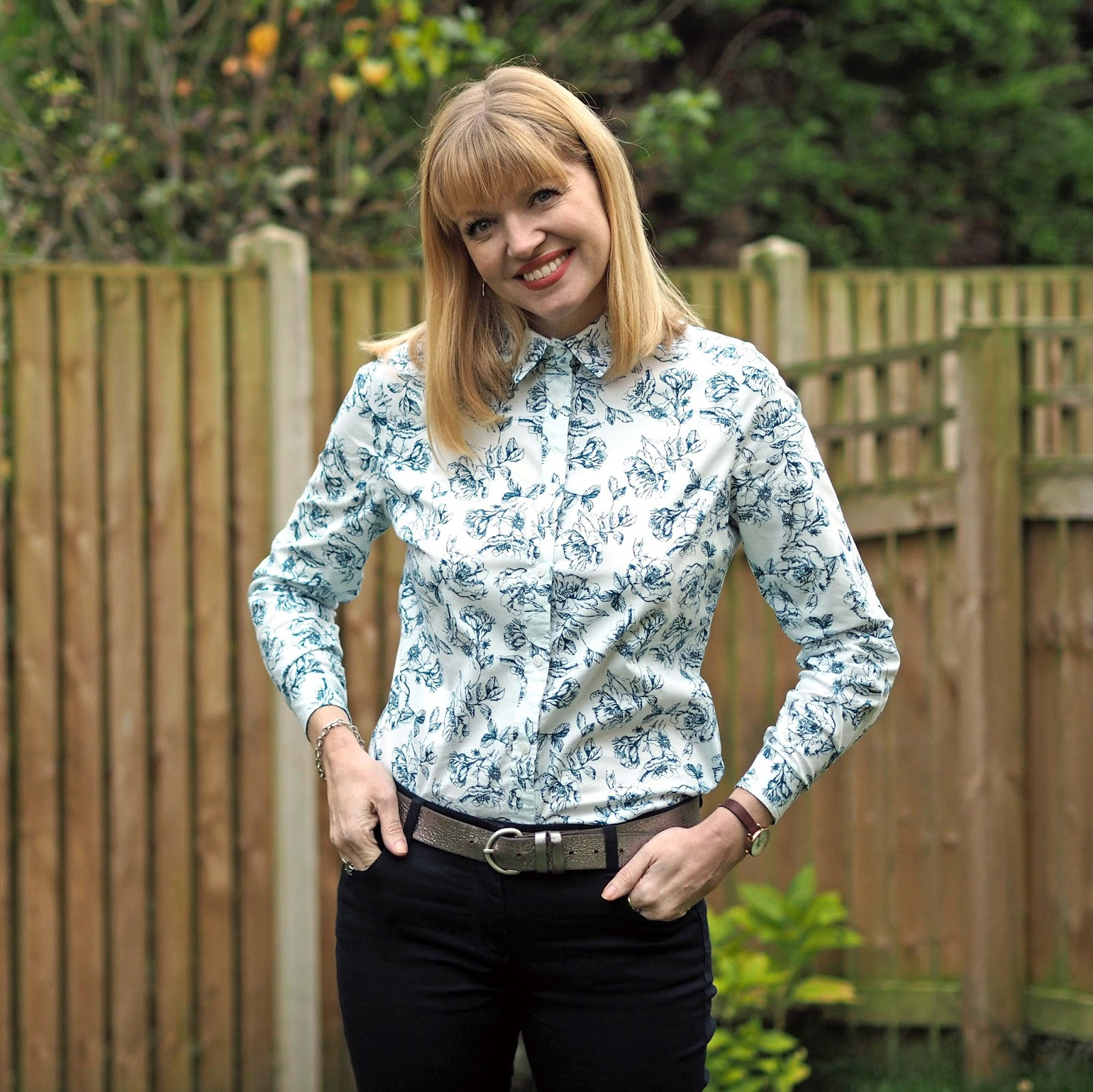 Tulchan floral shirt with skinny jeans and high heeled ankle boots, over 40 style