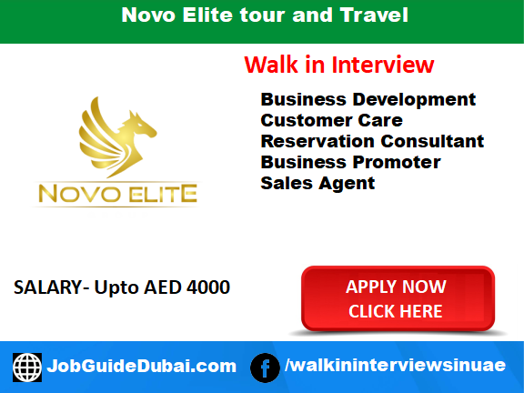 Job in Dubai for Business Development, Customer Care, reservation consultant and Sales agent