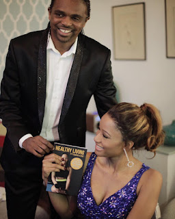 "Kanu nwankwo give support to his wife as she unveils her new book ""Healthy living with Amara Kanu"""