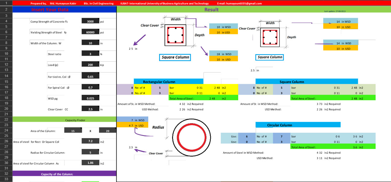 Column Design with Excel