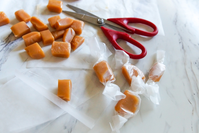 Homemade Salted Caramels wrapped in waxed paper for gift giving