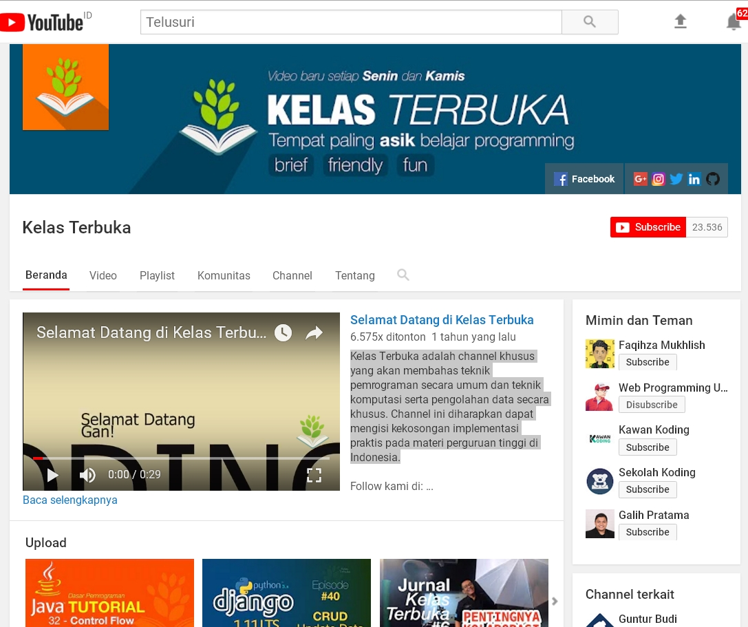 Channel Youtube  Belajar Programming