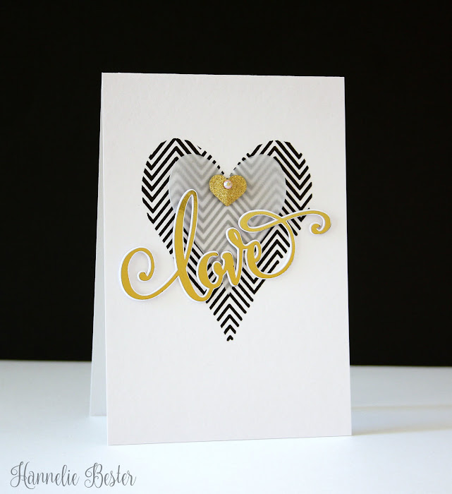 Love card in black white & gold foil