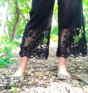 Sheer Embellishment on Pants BurdaStyle 07-2018 #120 Sharon Sews sewing blog