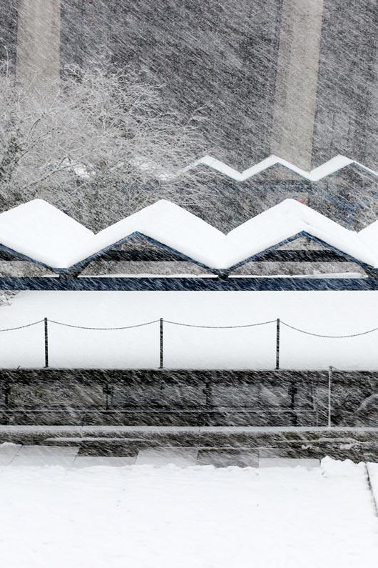 Winter, Schneegestoeber in der Stadt