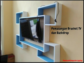 memasang bracket tv dan backdrop minimalis