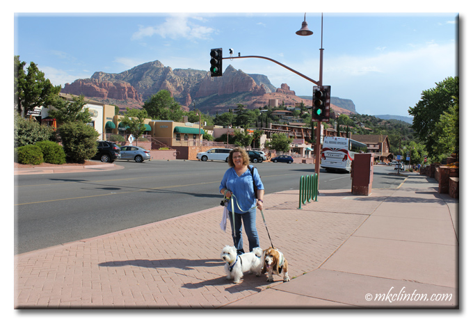 Woman with Basset Hound and Westie in Sedona, AZ
