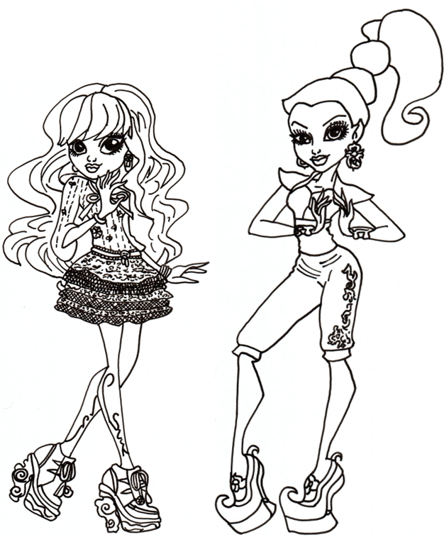 Free Printable Monster High Coloring Pages: Twyla and Gigi