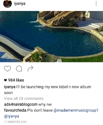 Iyanya dumps Ubi Franklin of Triple MG to start his own label