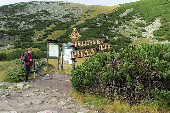 """Tablice informacyjne Parku Narodowego """"Riła""""."""