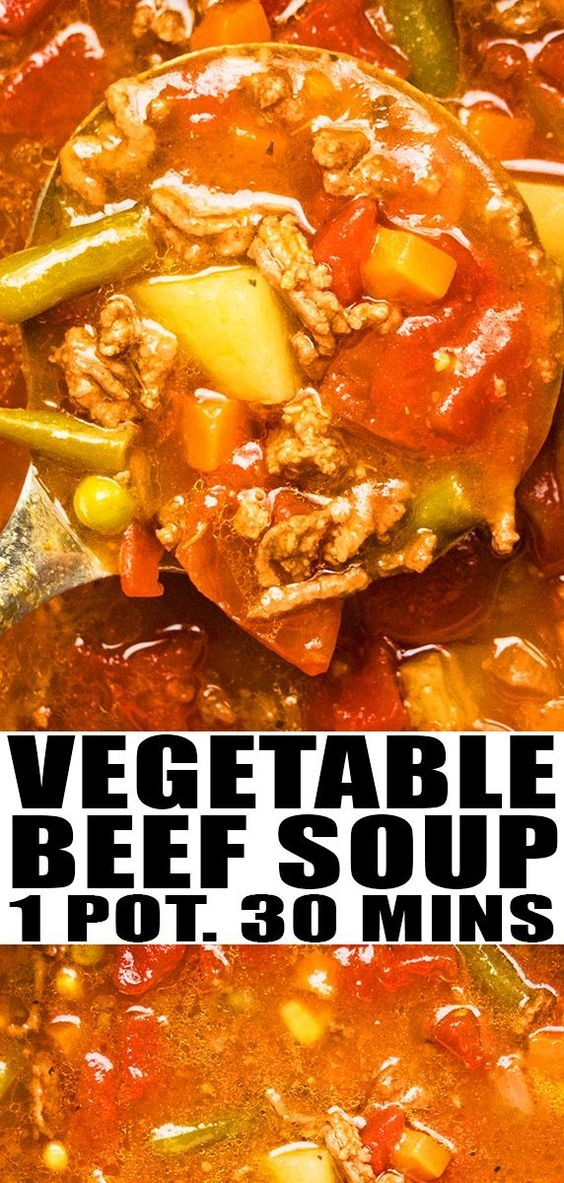 One Pot Vegetable Beef Soup Recipe