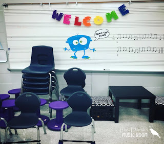 Mrs. Miracle's Music Room Reveal: Blog post includes tons of pics, and solutions for organizing your music room!