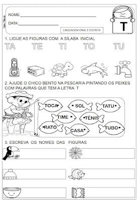 atividades do alfabeto, Letra T, Atividades de alfabetização,