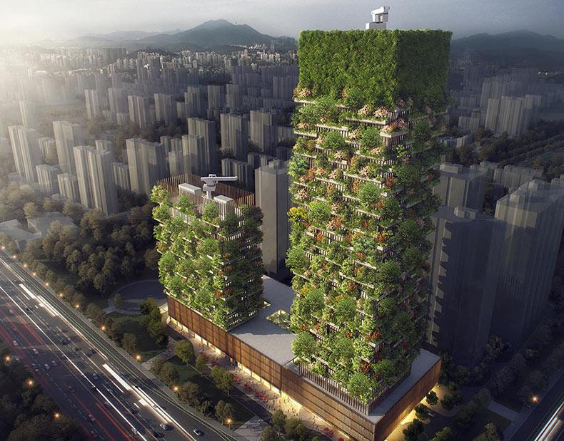 Primer bosque vertical en Asia con 3.000 plantas transformará el CO2 en 60 kilos de oxígeno por día