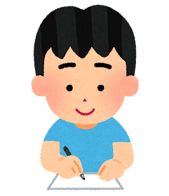 紙に何かを書く人のイラスト(男の子)