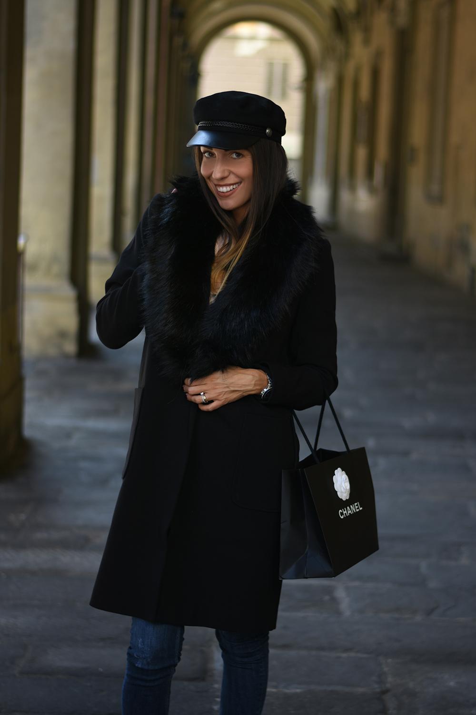 cappotto nero pelliccia