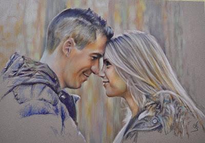 Retrato de una pareja a pastel.