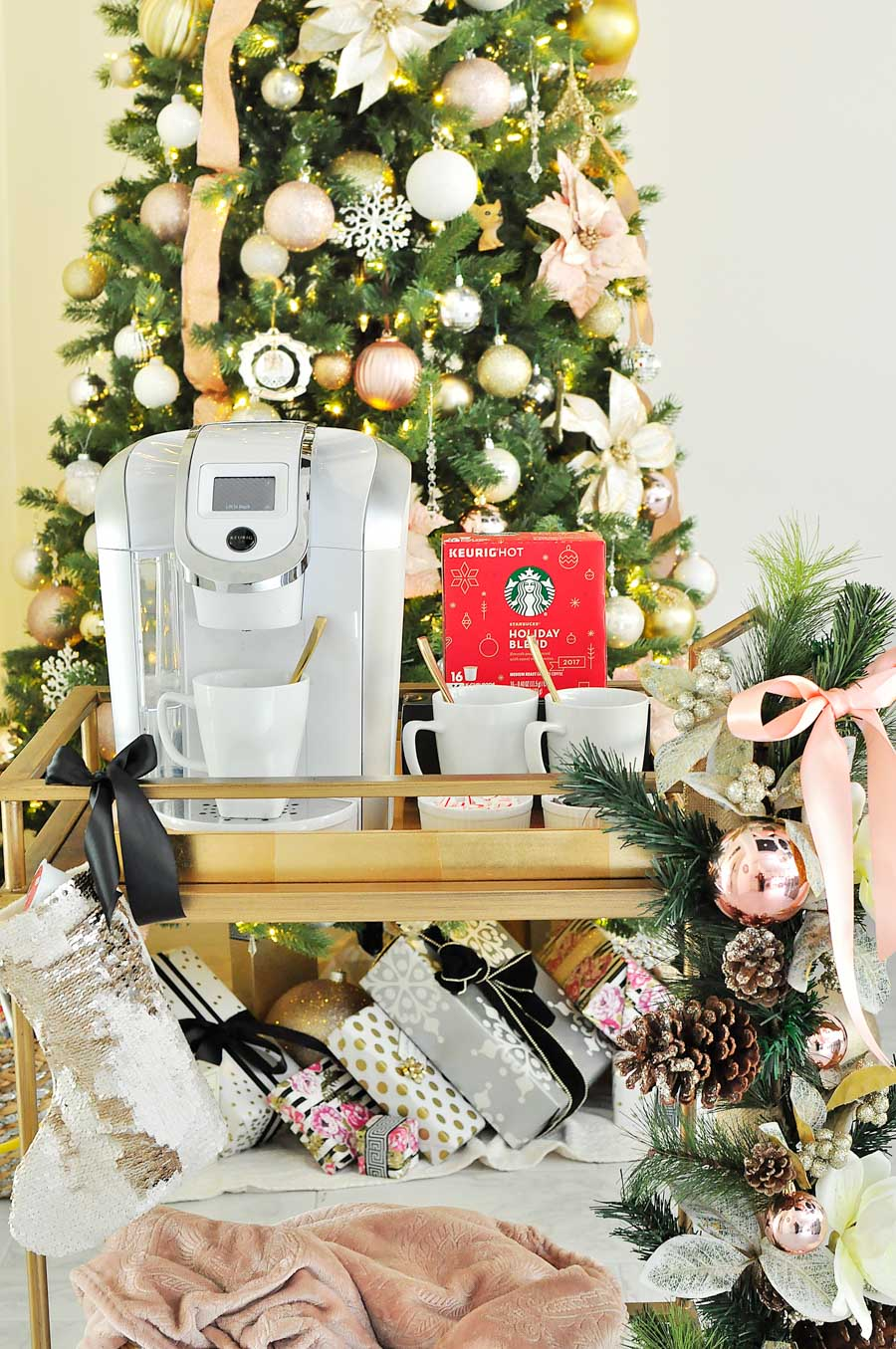 Decorate your bar cart like a pro for the holidays with these simple tips and ideas. This coffee bar cart is fabulous!