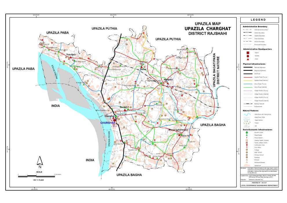 Charghat Upazila Map Rajshahi District Bangladesh