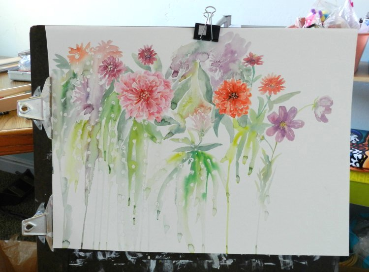 Large Floral Watercolor Painting