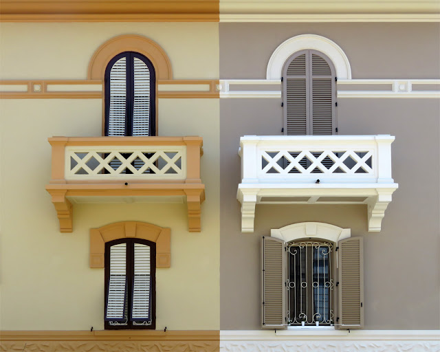 Identical balconies, different colors, Via Mangini, Livorno