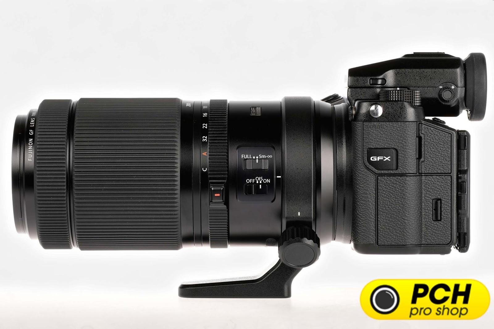 Объектив Fujinon GF 100-200mm f/5.6 R LM OIS WR с камерой Fujifilm GFX 50S, вид сбоку