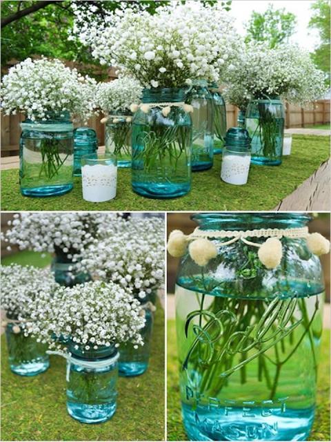 decoração com garrafa de vidro verde
